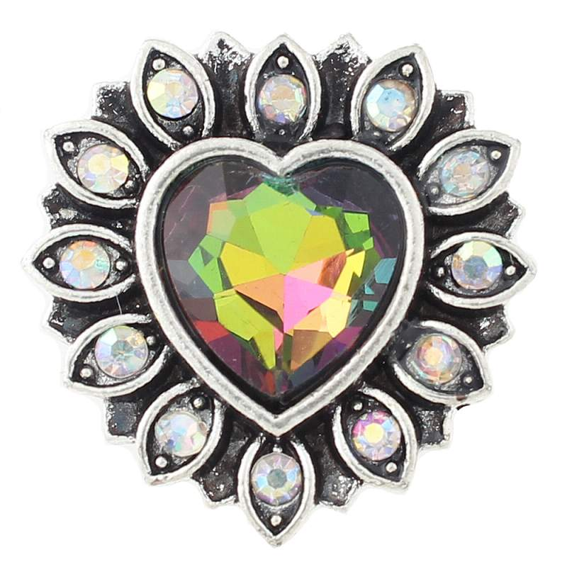 Heart Snap Button with glass rhinestone
