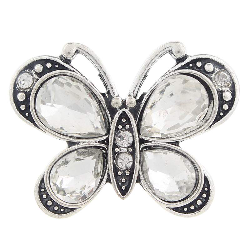 20mm butterfly Snap Button with rhinestone