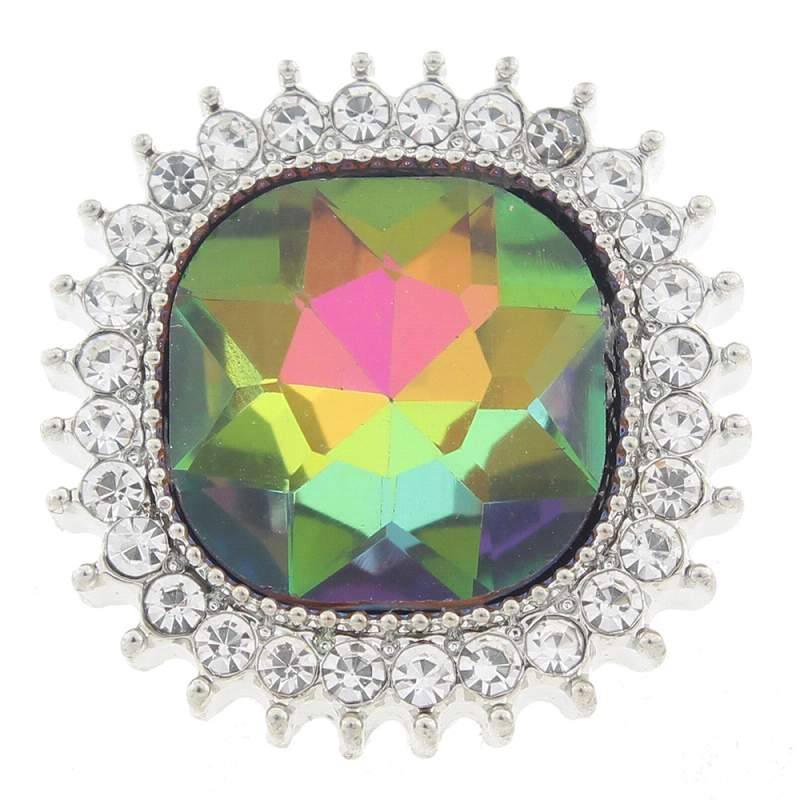 20mm Snap Button plated sliver with glass rhinestone
