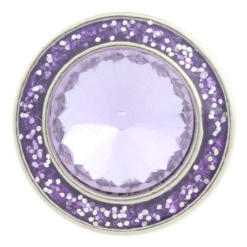 20mm design Snap Button plated sliver with glass rhinestone