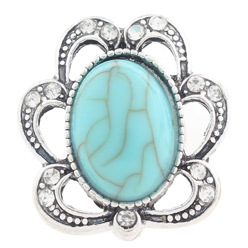20mm design Snap Button plated sliver with turquoise