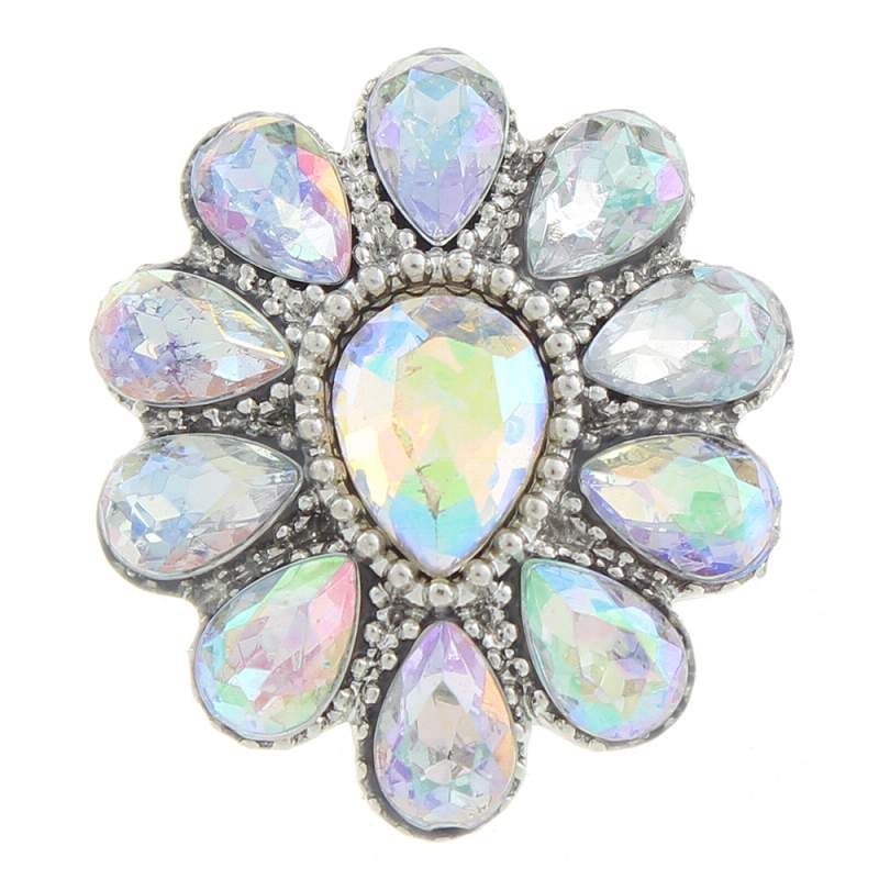 20mm design Snap Button plated sliver with rhinestone