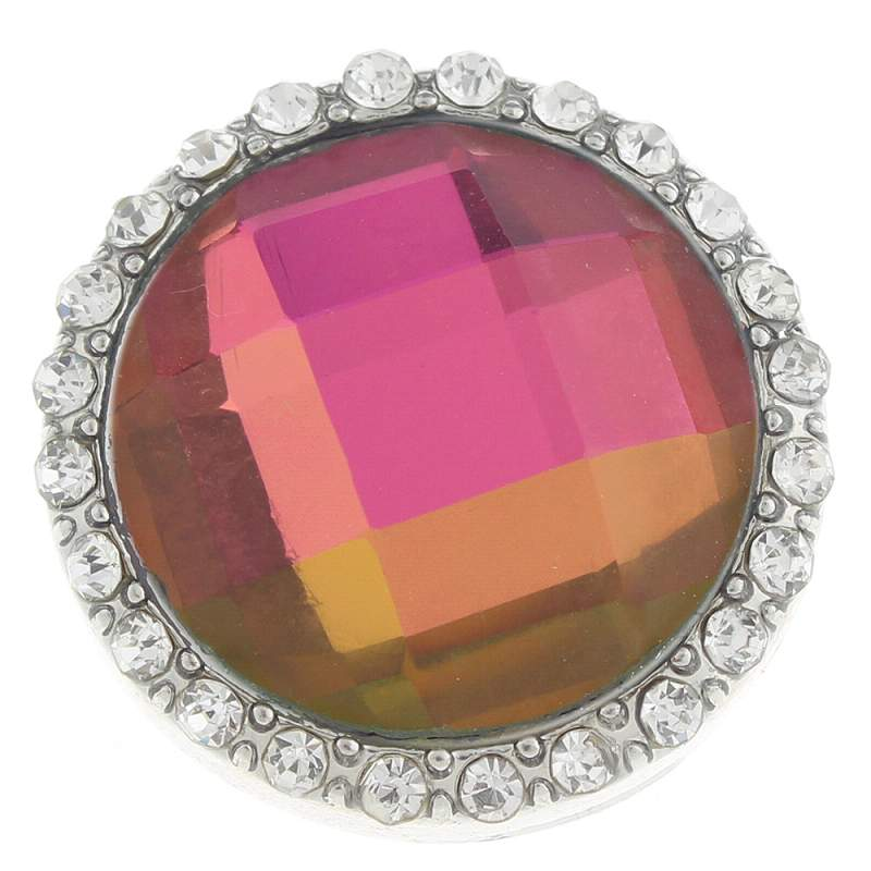 20mm glass Snap Button plated sliver with rhinestone