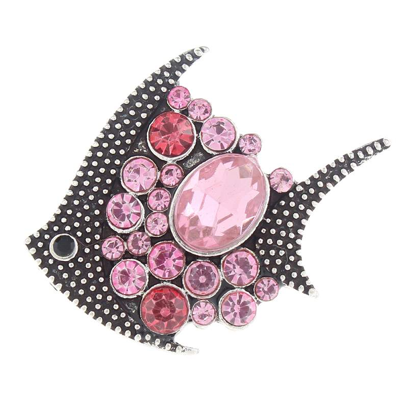 20mm fish Snap Button plated sliver with rhinestone