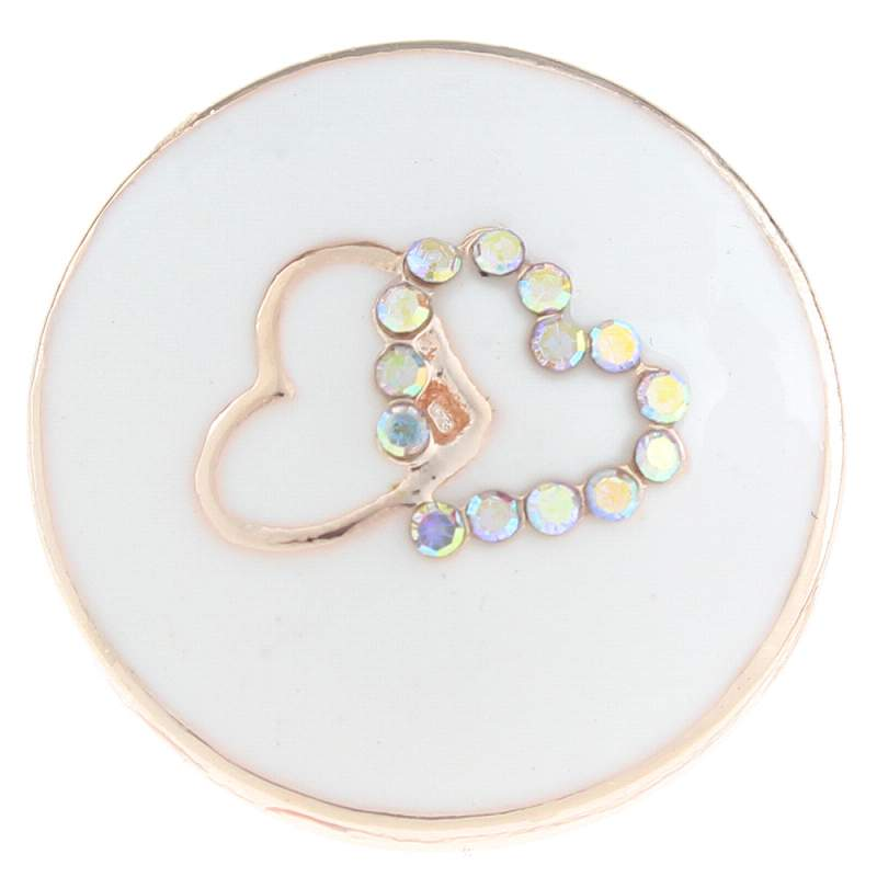 20mm heart Snap Button plated rose golden with rhinestone