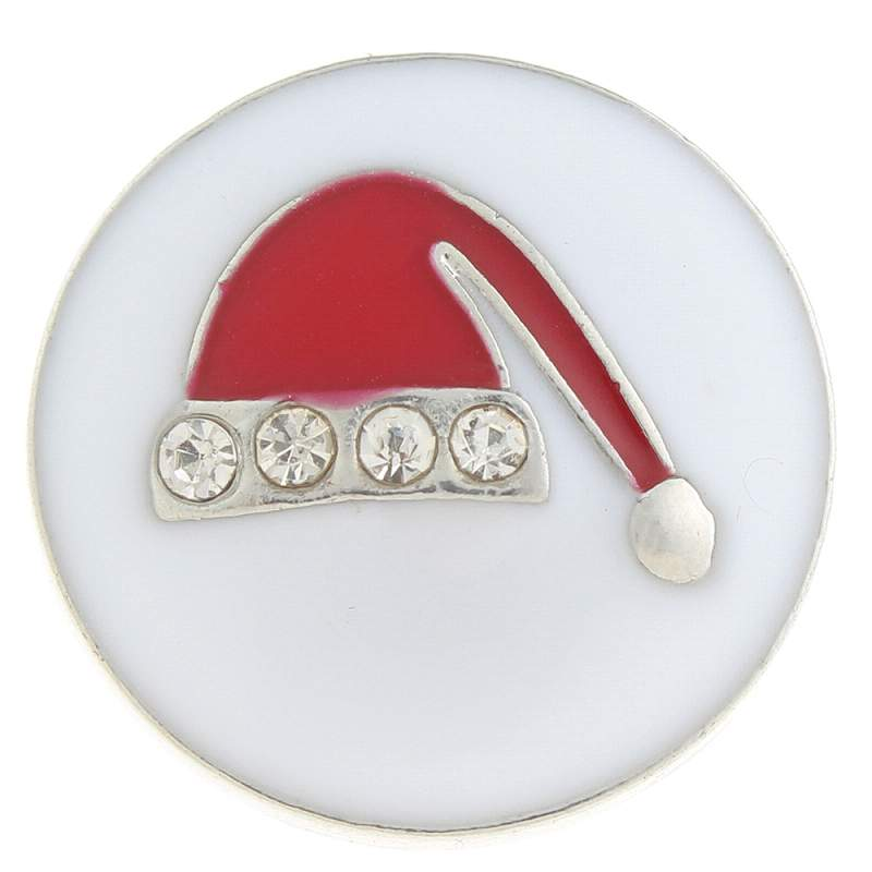 20mm Christmas hat Snap Button with rhinestone