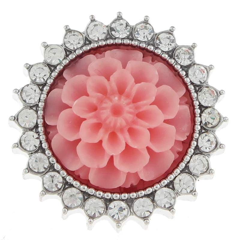 20mm design flower Snap Button with rhinestone