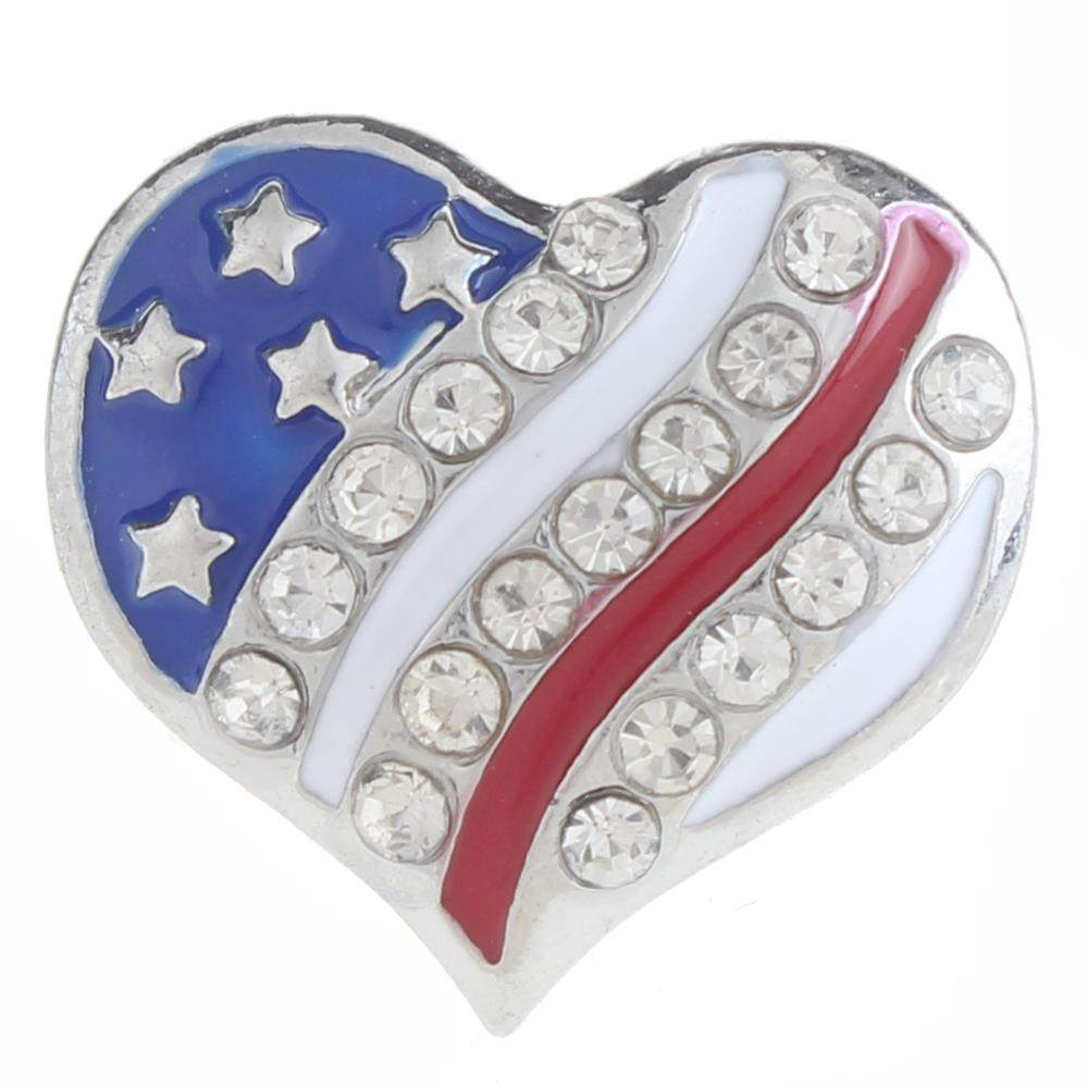20mm American flag Snap Button plated sliver with rhinestone