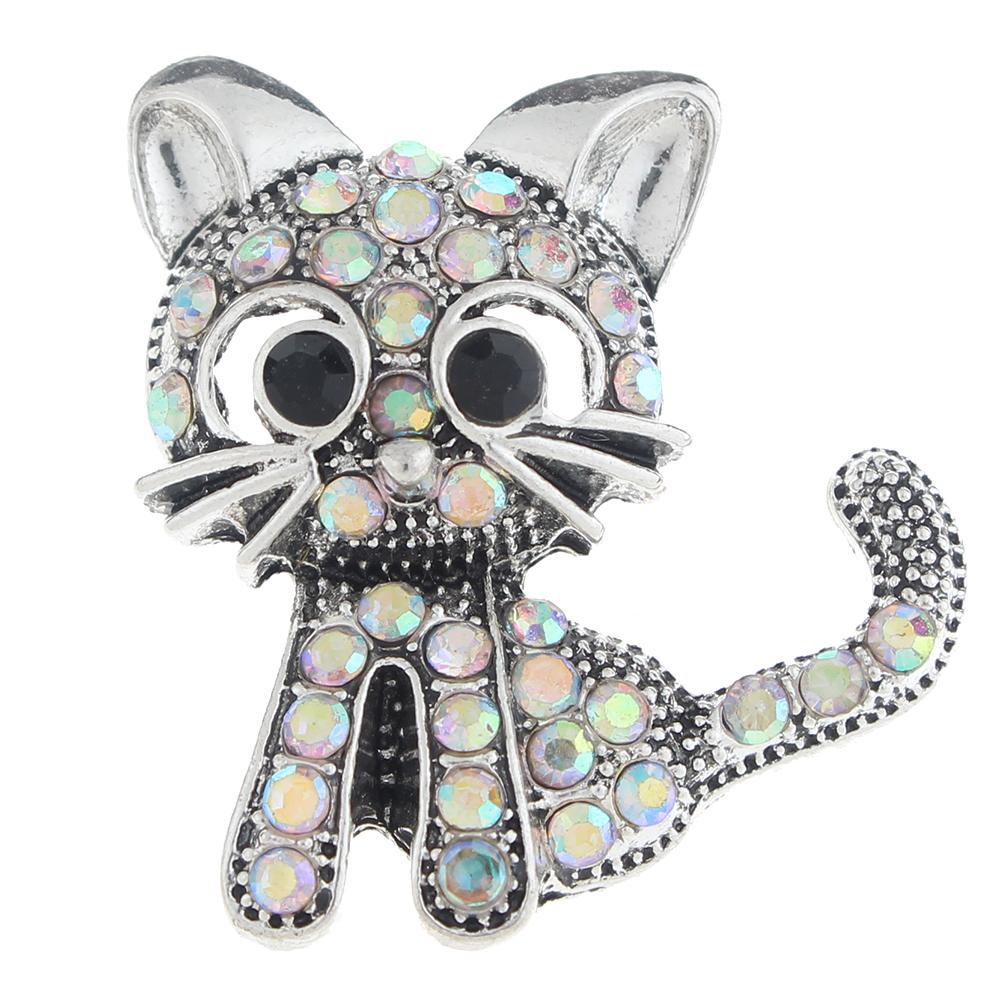 20mm cat Snap Button plated sliver with rhinestone