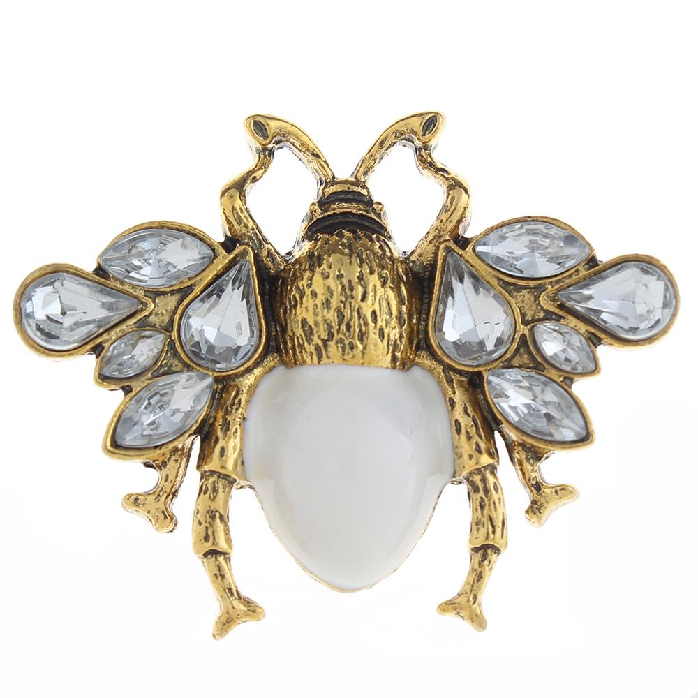 20mm bee Snap Button plated sliver with rhinestone