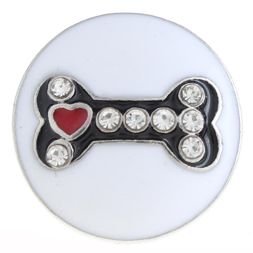 20mm bone Snap Button with rhinestone