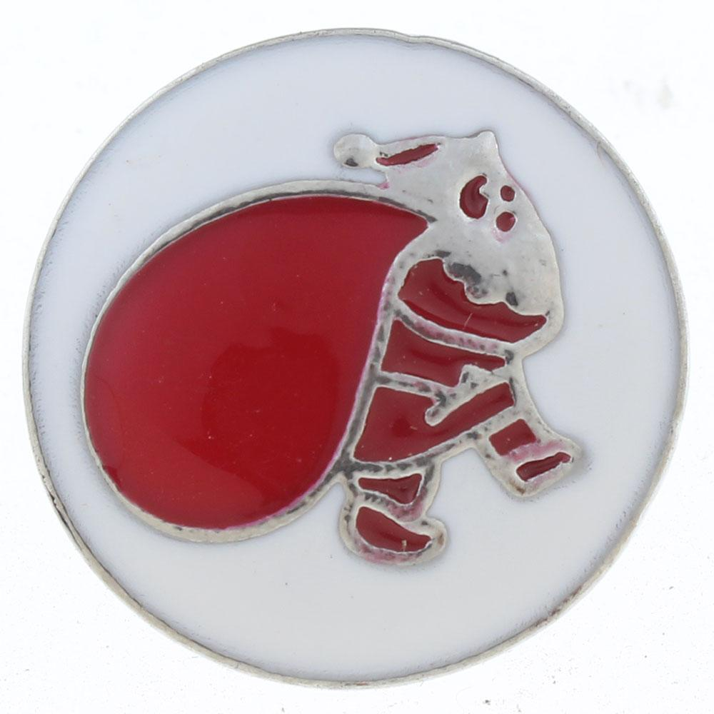 20mm Santa Claus Snap Button plated sliver with rhinestone Christmas