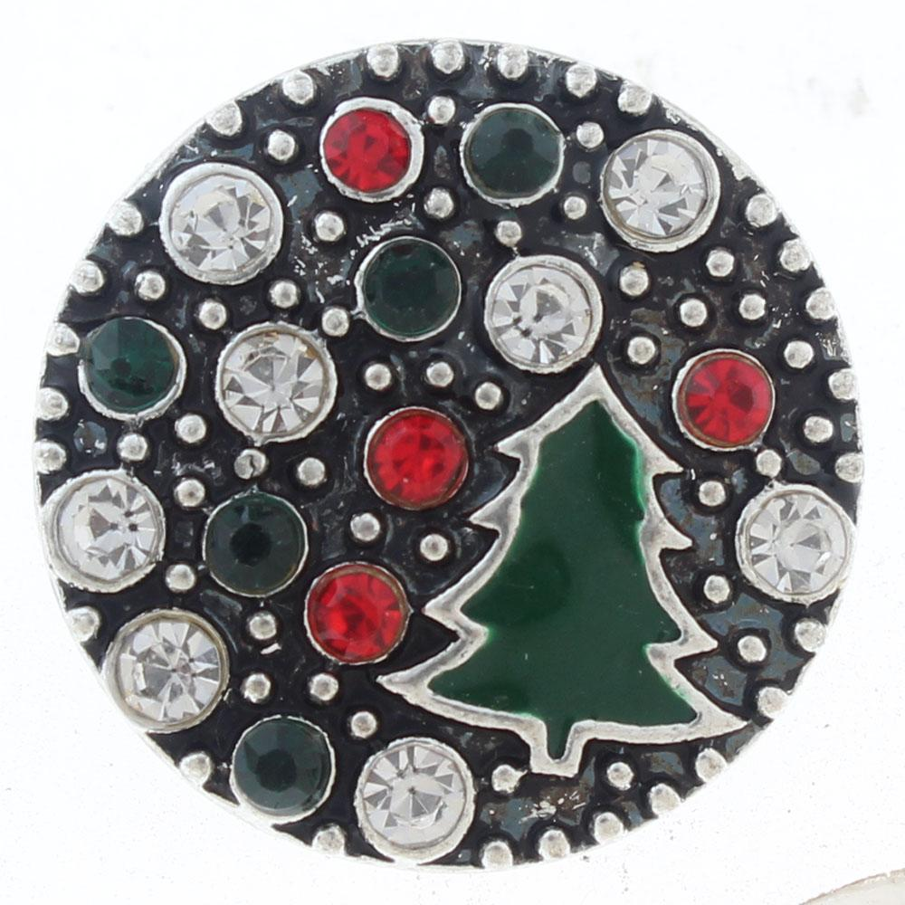 20mm christmas tree Snap Button plated sliver with rhinestone