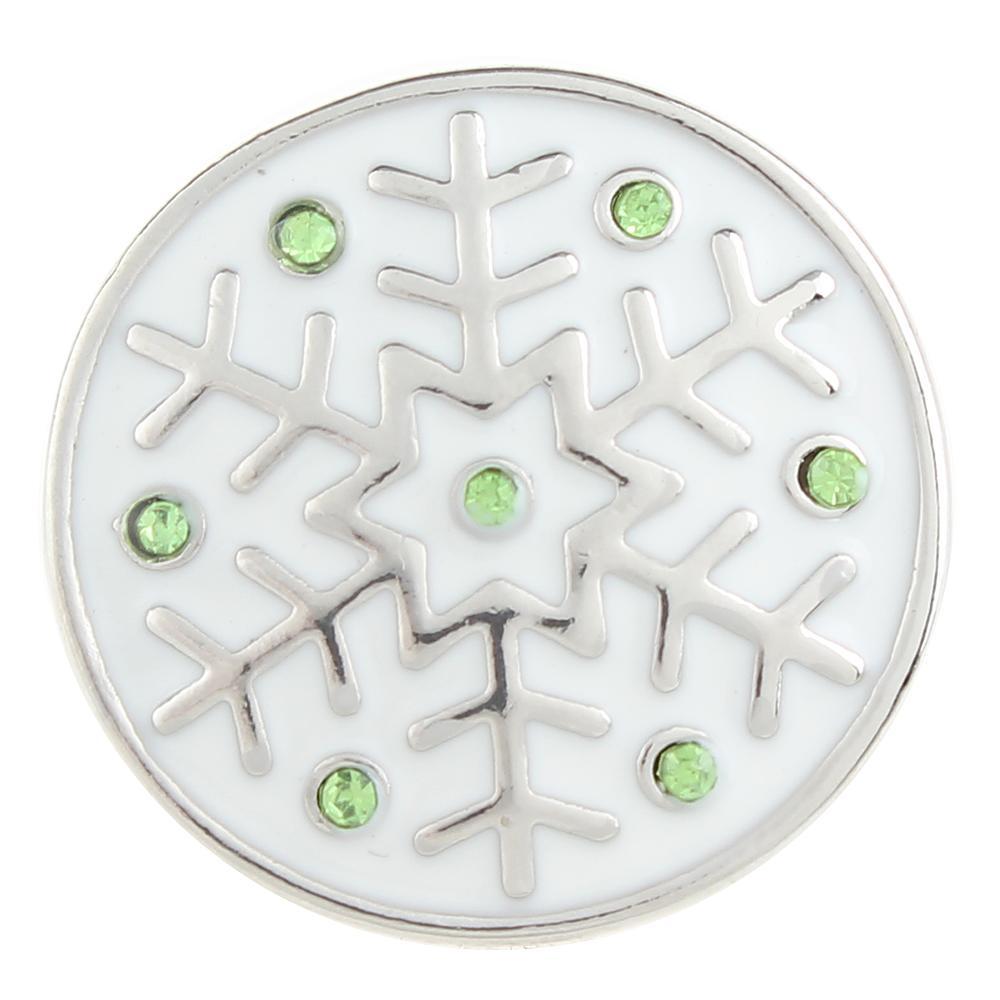 Green Crystal Christmas Xmas snowflake 20mm Snap Button