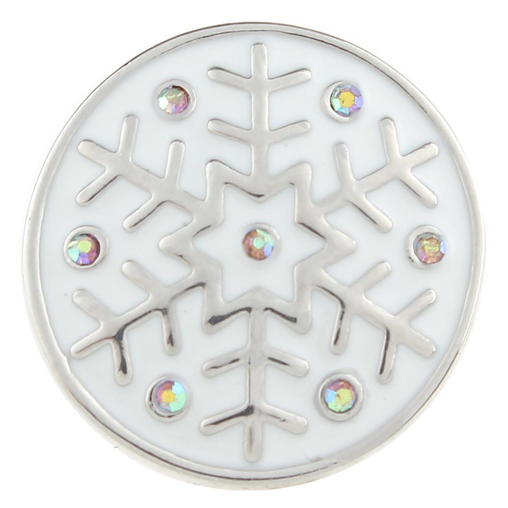 AB color Crystal Christmas Xmas snowflake 20mm Snap Button
