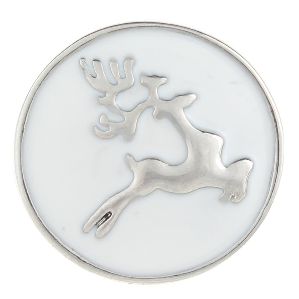 White Christmas Xmas Animal Deer 20mm Snap Button