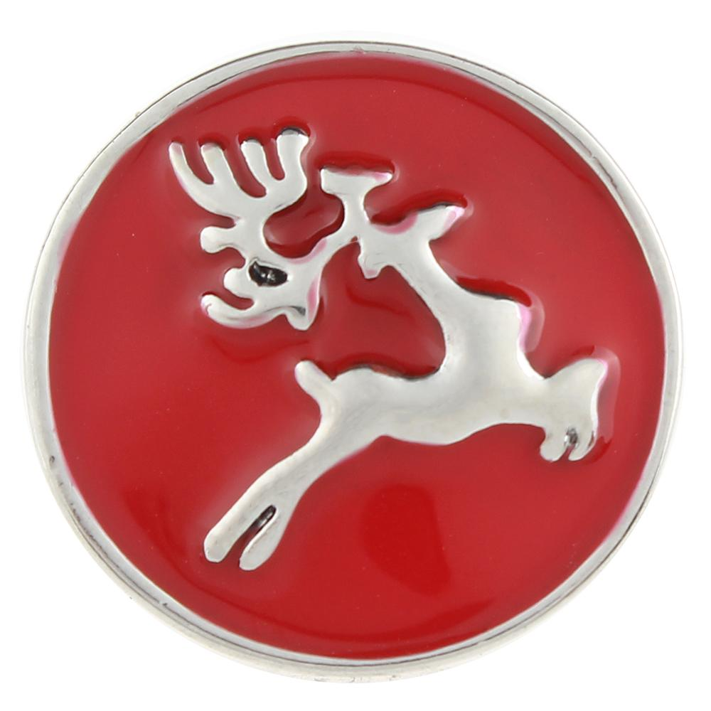 Red Christmas Xmas Animal Deer 20mm Snap Button