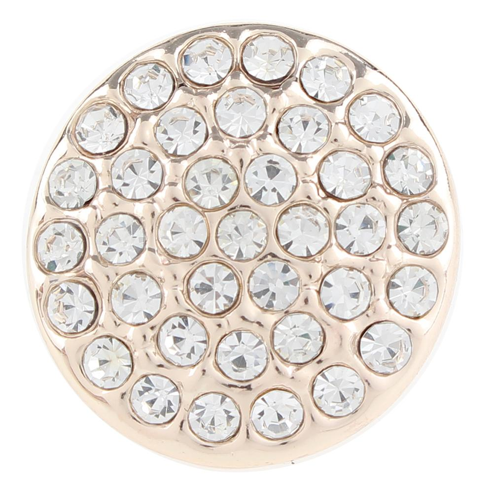 Rose Gold-plated White Crystal 20mm Snap Button