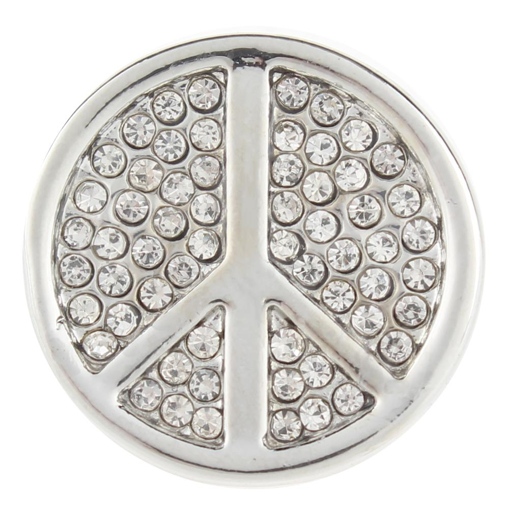 White peace Symbol 20mm Snap Button