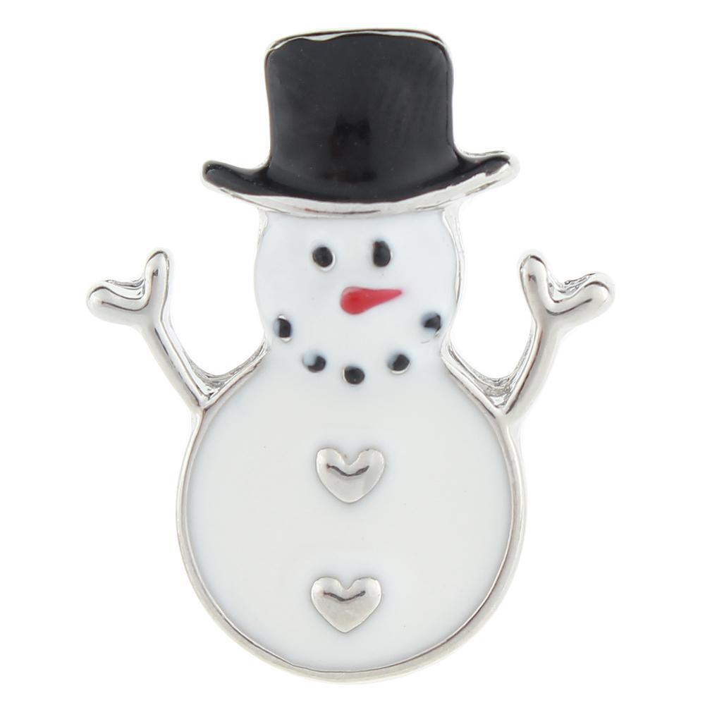 Christmas Xmas Black Hat Snowman 20mm Snap Button