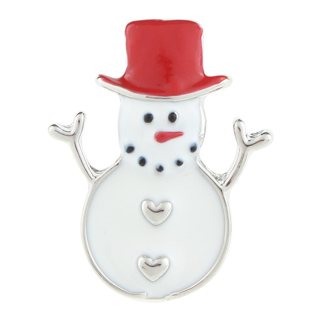 Christmas Xmas Red Hat Snowman 20mm Snap Button