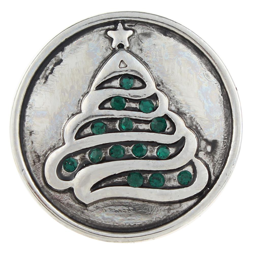 Christmas Xmas Green Tree 20mm Snap Button