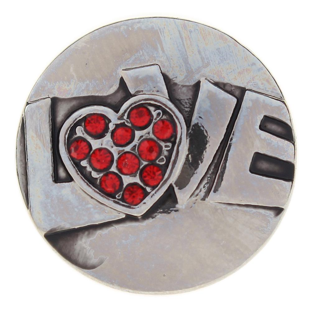 Valentine's Day Love Silver plated red rhinestone 20mm Snap Button