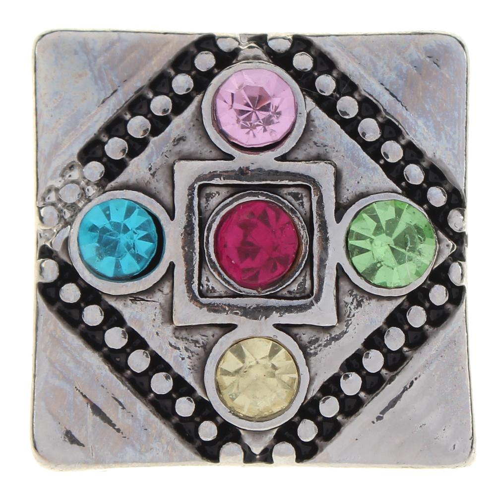 Polygon 20mm Square color rhinestone flowers metal snaps button