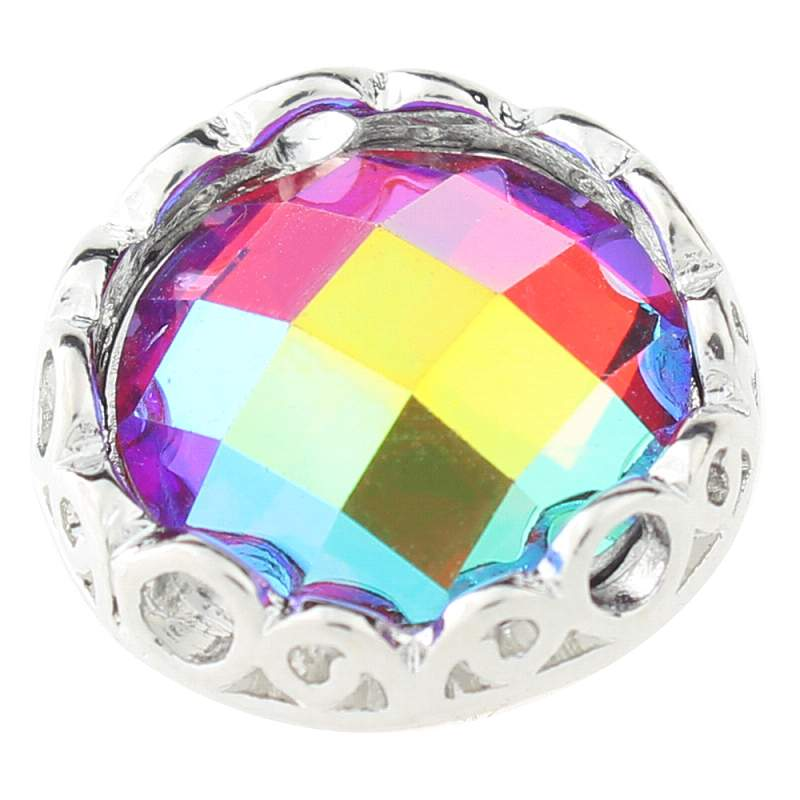 Multicolor cut glass button Faceted crystal snaps 20mm Snaps Button