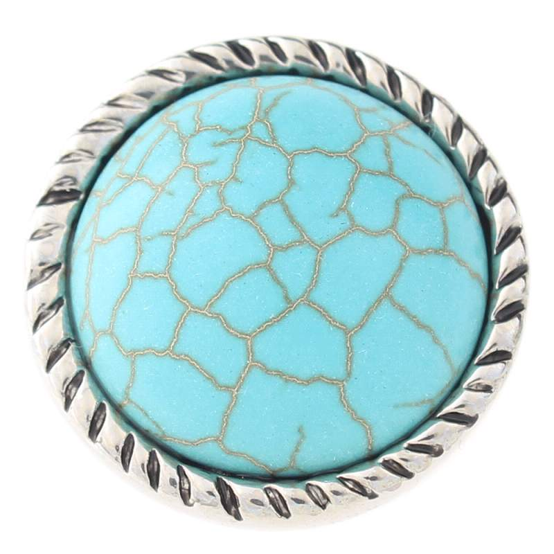 20mm Turquoise snap Silver Plated snaps jewelry