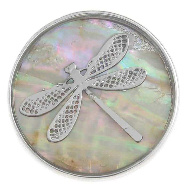 20mm dragonfly Snap Button plated sliver with shell