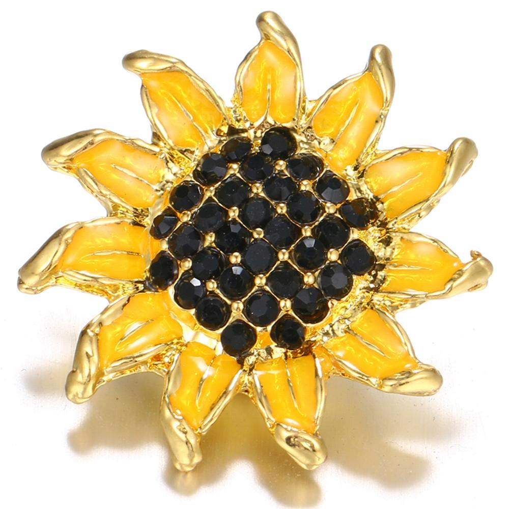 35mm Gold-plated Botany Flower Sunflower snap buttons