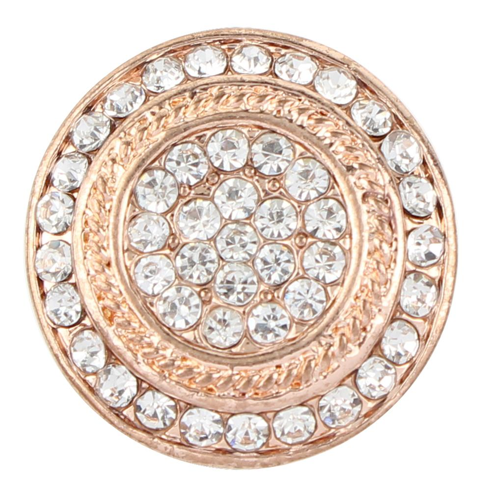 20MM Rose Gold-Plated with White Crystal snap buttons Pops