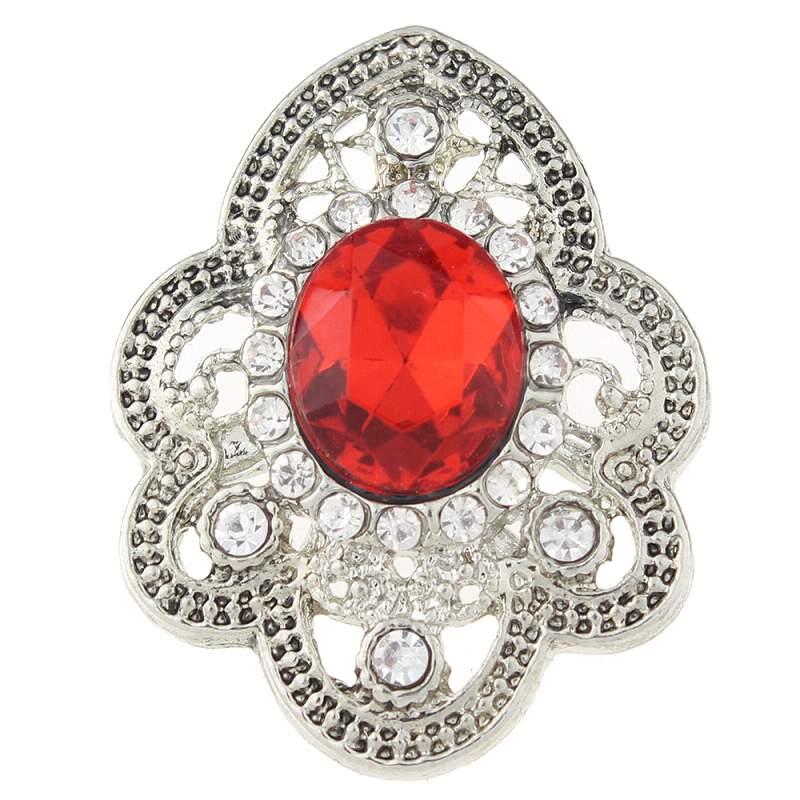 Ellipse 20mm clear rhinestones flower snaps jewelry