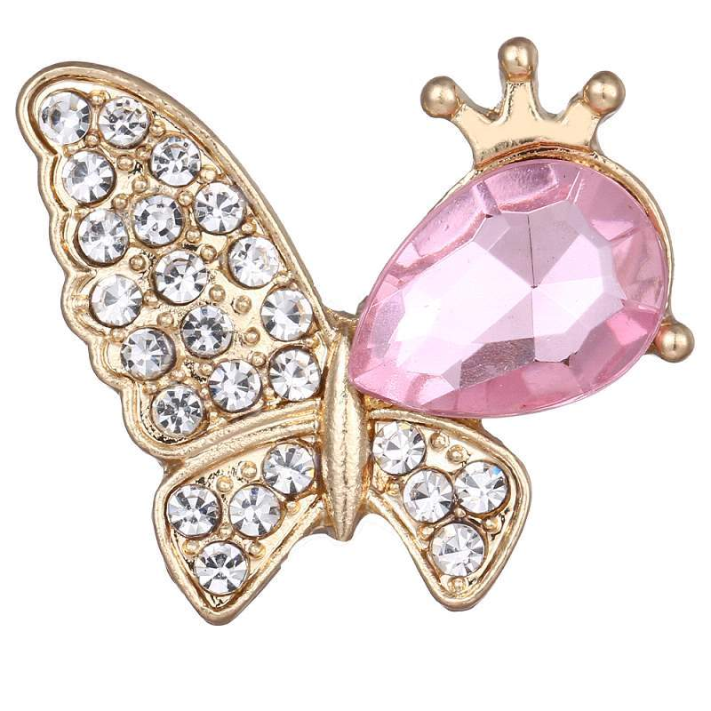 20mm butterfly snaps buttons with rhinestone