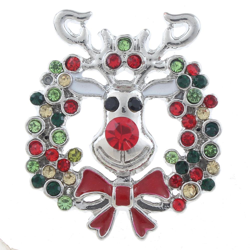 20mm Christmas deer Snap Button plated sliver with rhinestone