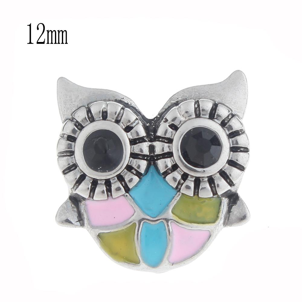 12mm owl Snap Button plated sliver with enamel