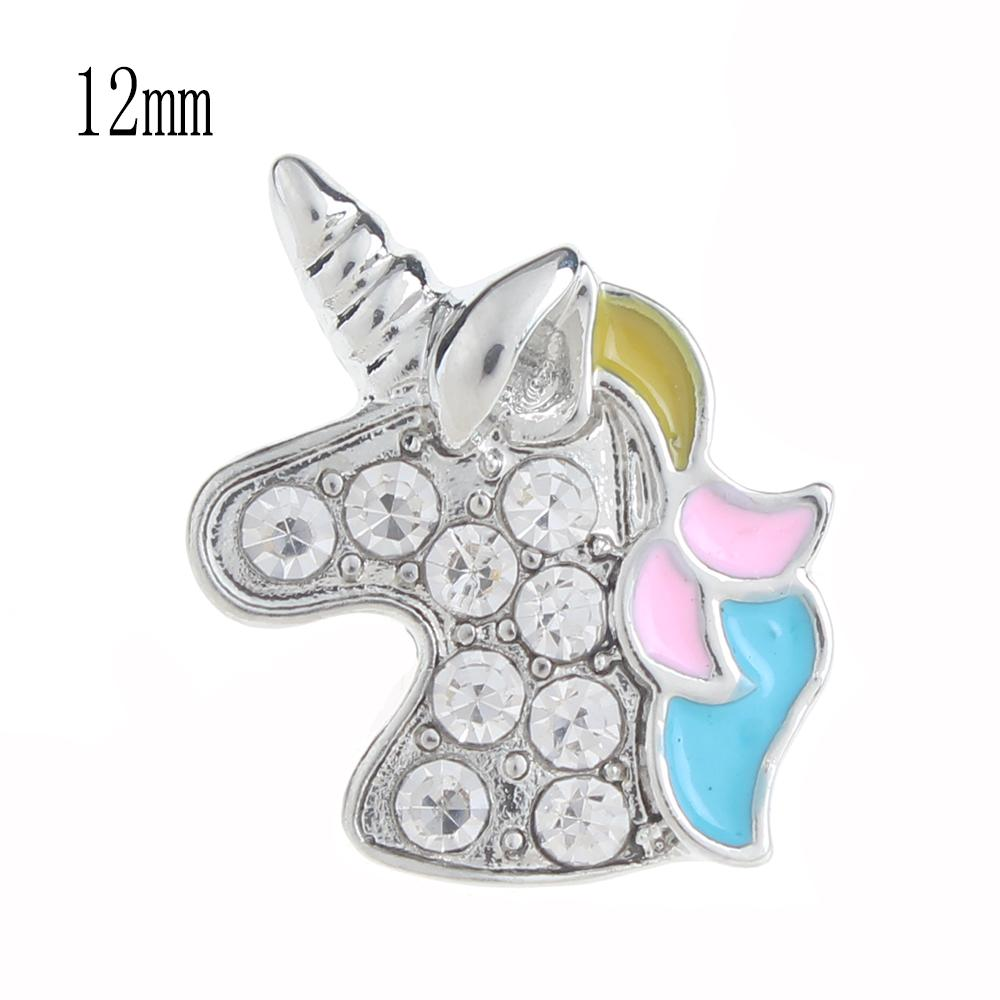 12mm unicorn Snap Button plated sliver with rhinestone