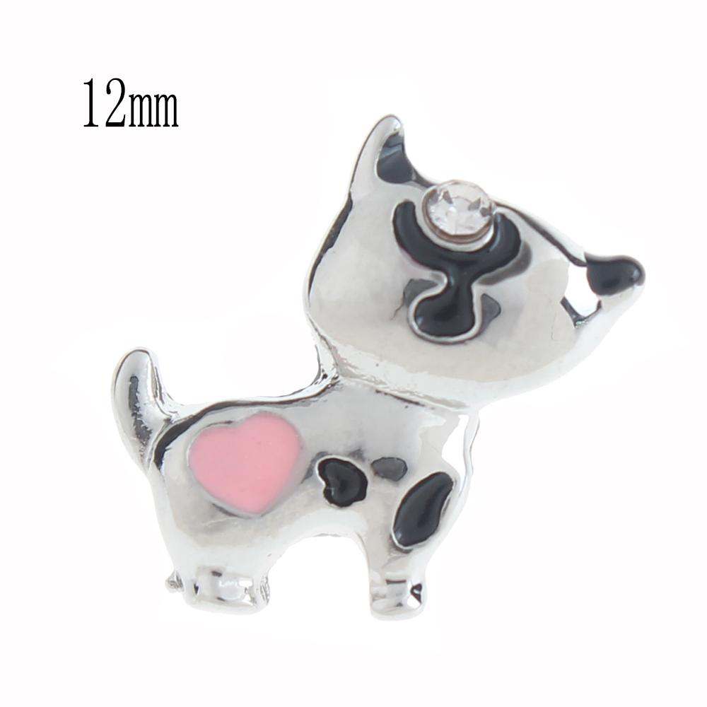 12mm dog Snap Button plated sliver with enamel