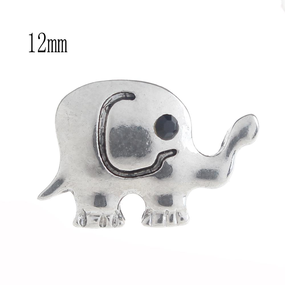 12mm Elephant Snap Button plated sliver with enamel