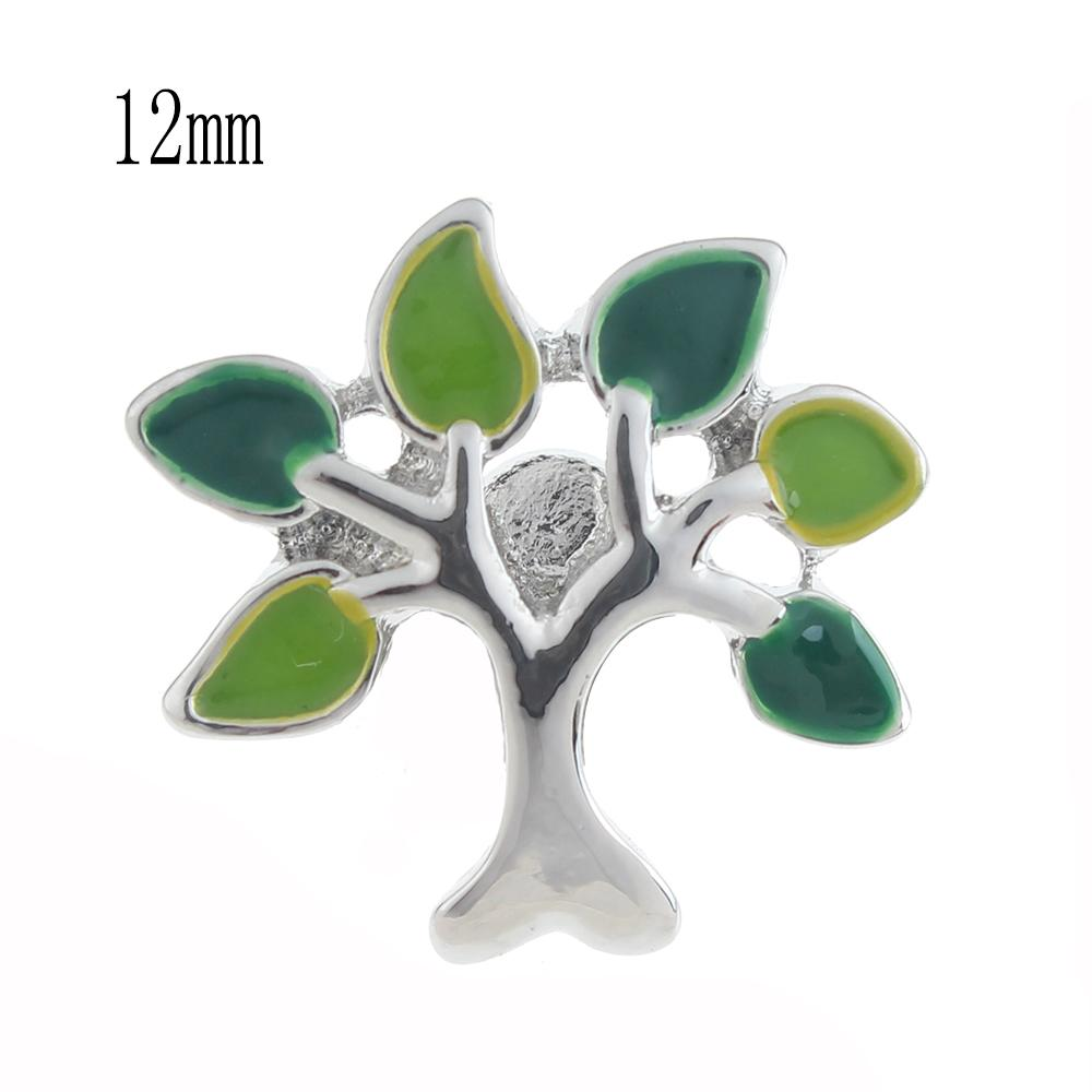 12mm tree Snap Button plated sliver with enamel