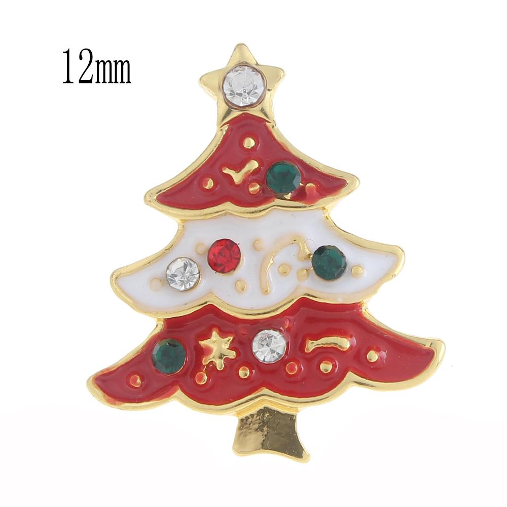 12mm Christmas tree Snap Button plated sliver with enamel