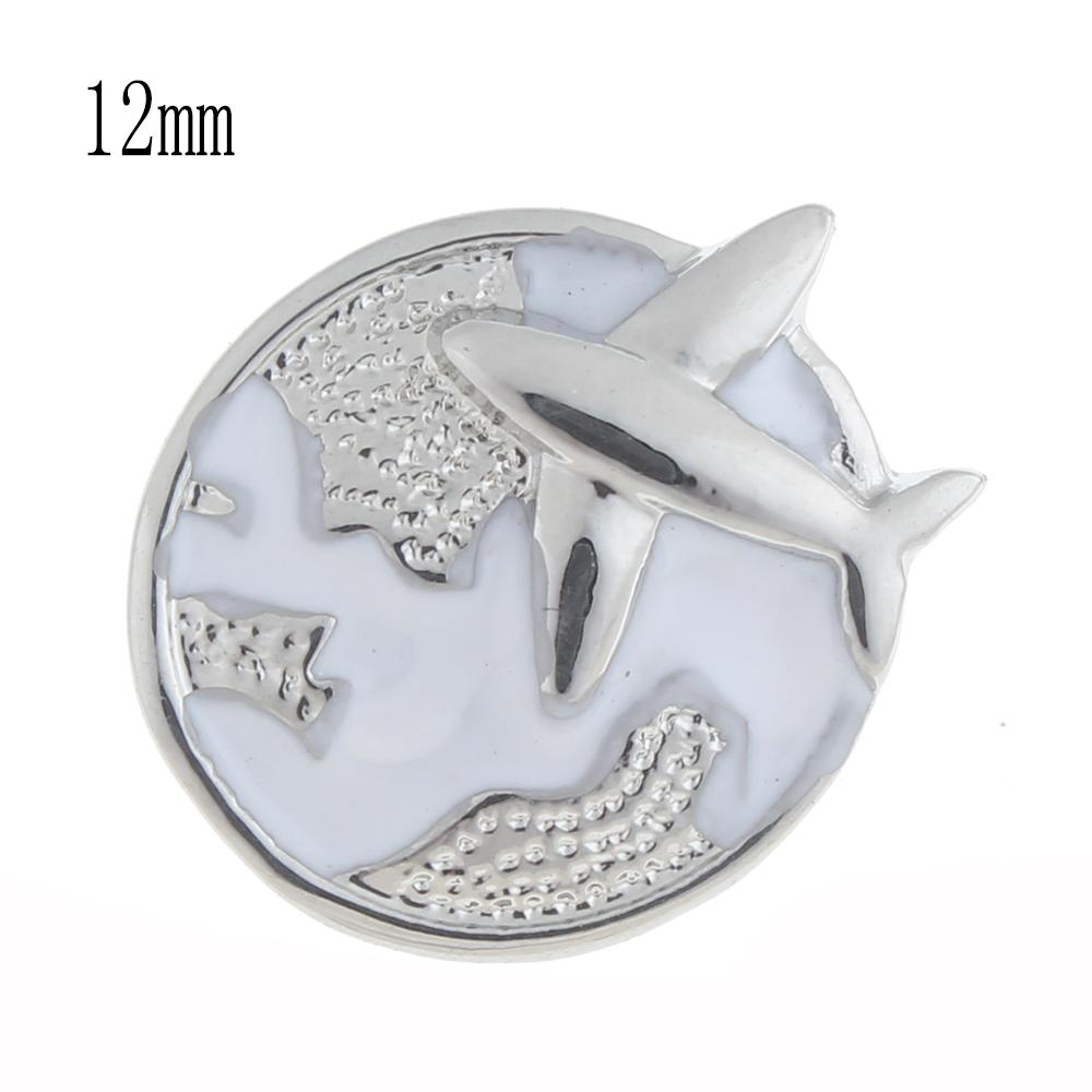 12mm airplane Snap Button plated sliver with enamel