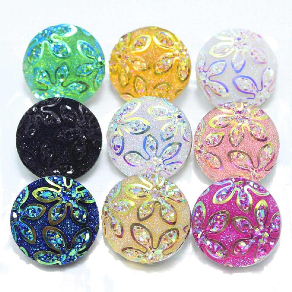 10pcs/lot Mixed Various colors of the Bauhinia flower resin snaps buttons fit 18mm Ginger buttons bracelets and snaps necklace