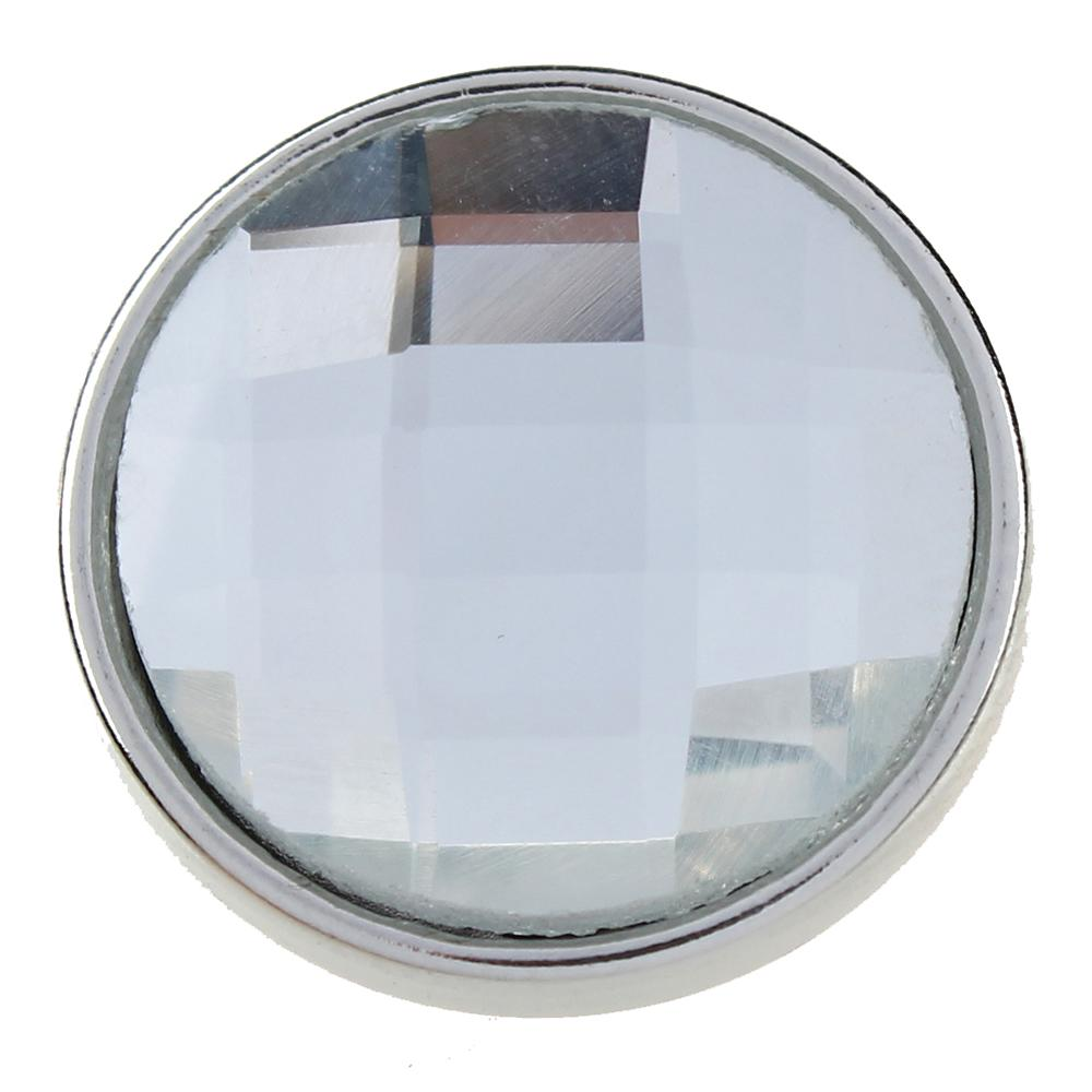 18mm white cut glass button Faceted crystal snaps