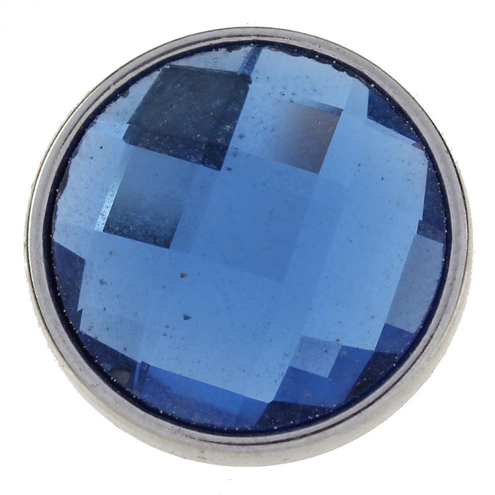18mm blue cut glass button Faceted crystal snaps