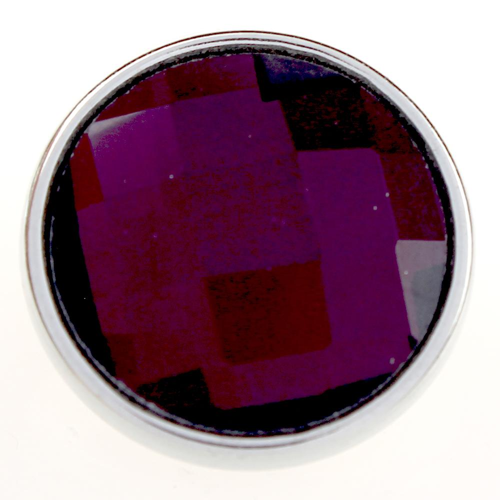 18mm purple cut glass button Faceted crystal snaps