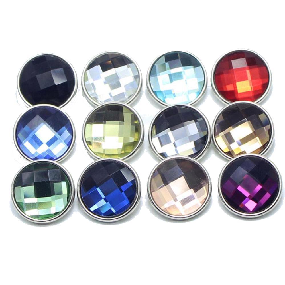 10pcs / lot 18mm mix color cut glass button Faceted crystal snaps