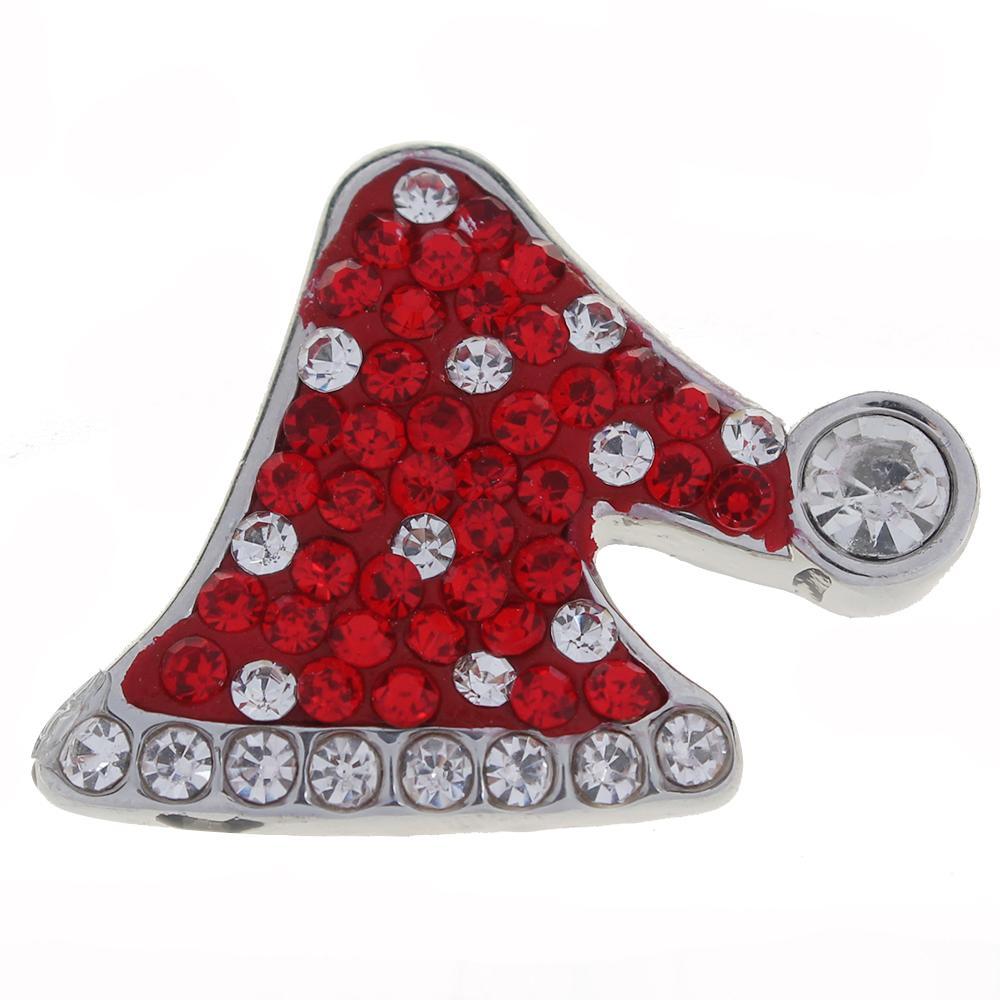 Merry Christmas Red Rhinestones Christmas hat snaps jewelry
