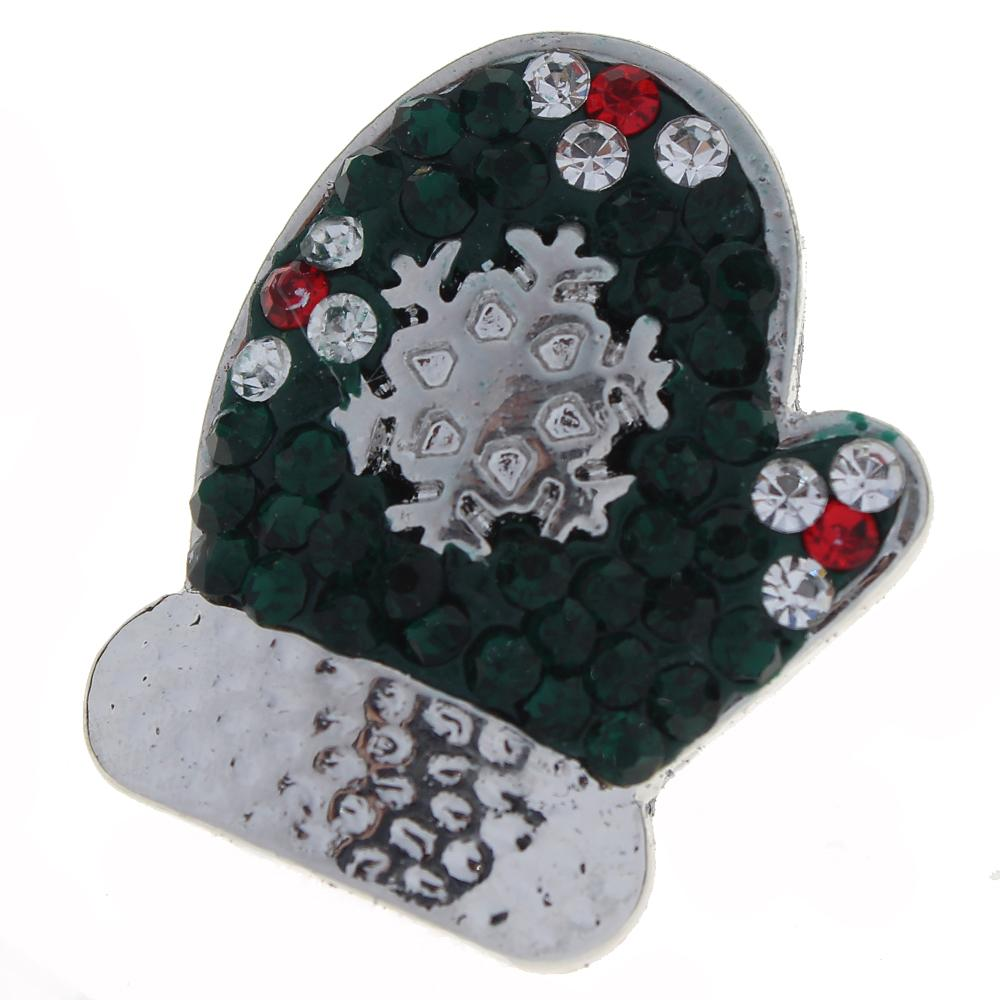 Merry Christmas green Rhinestones with red flowers  Gloves snaps jewelry